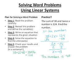 solving word problems using linear systems
