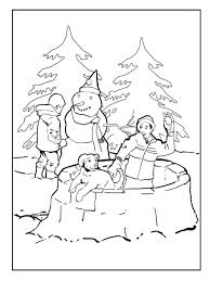 winter sports coloring pages free printable snowy houses pre