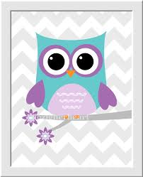 Nursery Owl Decor Owl Baby Nursery Wall Purple Lavender Teal Room Wall