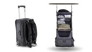 glider rolling carry on bag with collapsible shelves and backpack