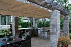 Pergola Outdoor Kitchen Retractable Outdoor Kitchen Cover In Terrebonne Shadefx Canopies