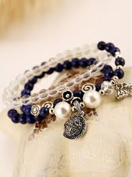 beaded bracelet with pearls images Fashion multilayer natural lapis lazuli crystal pearl beaded jpg