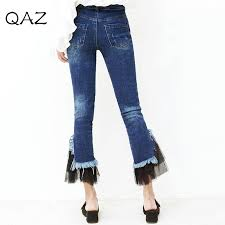 Flared High Waisted Jeans Waist Jeans Breasted Female Stitching Lace Flared Trousers Wide