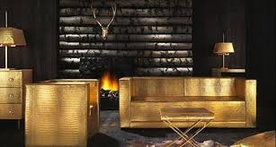 Gold Leather Sofa The Midas Touch Furniture Collection In Gold And Crocodile Leather