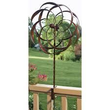 copper plated metal spinning yard garden deck rail ornament wind
