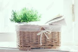 plant home decor home decor vintage wicker basket house plant and a stack of