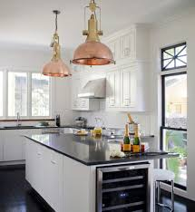 Industrial Kitchen Pendant Lights Kitchen White Kitchen With Industrial Furnishings Also Two Brass