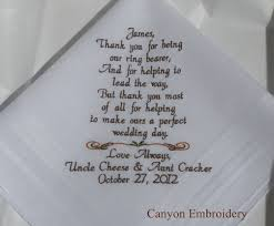 wedding quotes nephew ring bearer etsy embroidered wedding hankerchief personalized
