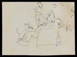 sketch of a man seated playing with a boy a dog and a cat u0027 john