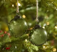 green mercury glass ornaments set of 6 pottery barn