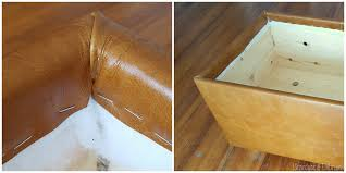 How To Reupholster A Leather Ottoman Diy Leather Upholstered Storage Ottoman Reality Daydream