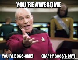 Happy Boss S Day Meme - you re awesome you re boss ome happy boss s day annoyed