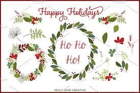 christmas wreaths vector illustrations creative market