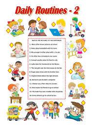 daily routines 2 worksheet free esl printable worksheets made
