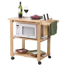 Kitchen Utility Tables - solid wood kitchen utility microwave cart with pull out cutting