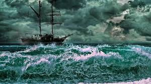 sailing ship on rough sea sound creaking wood and ocean sounds