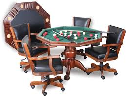 Poker Table Chairs 3 In 1 Table For Poker Dining Bumper Pool And With Accessories