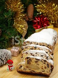 christstollen traditional german christmas bread stock photos