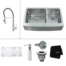 Lowes Apron Front Sink by Shop Kraus Kitchen Combo 20 75 In X 32 9 In Double Basin Stainless