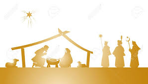 illustration christmas nativity play as silhouette royalty