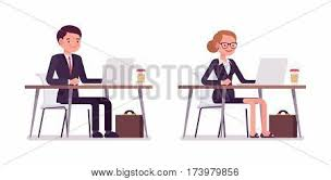 Working At The Desk Office Desk Isolated Images Illustrations Vectors Office Desk