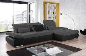 Black Sleeper Sofa Alpine Sectional Sleeper Sofa Right Arm Chaise Facing Anthracite