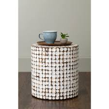 White Round Accent Table East At Main U0027s Columbia White Coconut Shell Inlay Round Accent