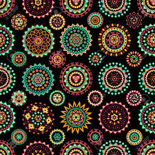seamless pattern of bright colorful geometric round ethnic