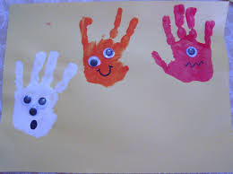 Art Craft Halloween by La La U0027s Home Daycare Halloween Craft Hand Print Monsters