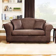 sure fit stretch leather 2 piece loveseat slipcover brown