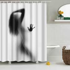 Black And Grey Curtains Eco Friendly Charming Figure Printing Shower Curtain For Bathroom