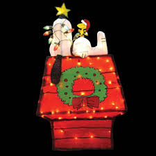 snoopy dog house christmas christmas peanuts 42 in pre lit 3d tinsel snoopy on dog house
