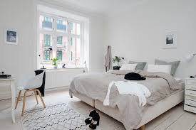 bedroom wooden table oak flooring bedroom interior scandinavian