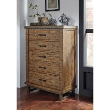 modern rustic solid wood five drawer chest with metal legs and