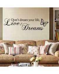 bedroom wall art stickers quotes shenra com live your dream butterfly quote wall sticker room decor art
