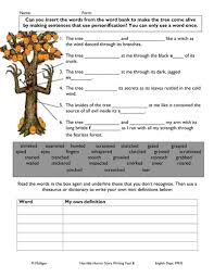 personification worksheet for weak pupil by diamond raindrops