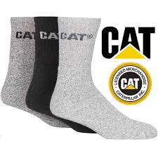caterpillar thick work boot socks cotton pack of 3 mens various