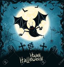 halloween spooky background spooky vampire on cemetery blue grungy halloween background