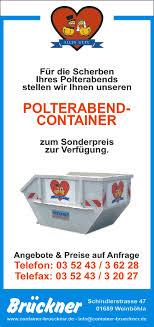 polterabend flyer container brückner weinböhla containerdienst baustoffe abbruch