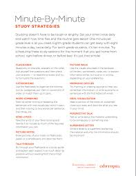 handout minute by minute study strategies high students