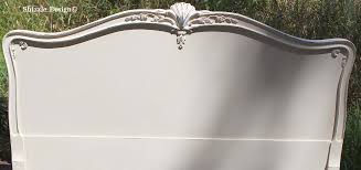 custom color mixing antique mahogany bed in creamy white by