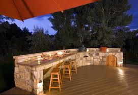 exciting stone outdoor kitchen base featuring silver color built