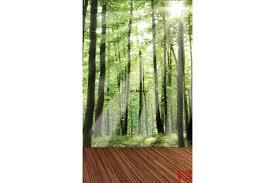 murals green forest with a wooden platform wall murals green forest with a wooden platform