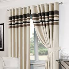 Brown Blackout Curtains Decorations Striped Ring Top Lined Pair Eyelet Ready Made Thermal