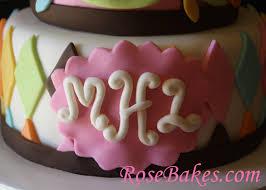 whoo loves you owl baby shower cake monogram rose bakes