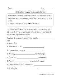 figurative language worksheets alliteration worksheets