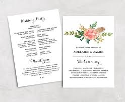 affordable wedding programs floral wedding program template printable wedding programs