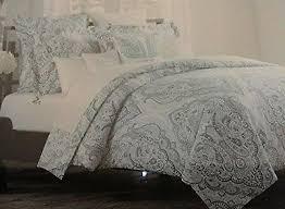 tahari home 3pc king duvet cover set large paisley medallion light