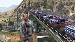 monster truck crash video train vs monster truck crash 200 cars gta v youtube