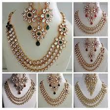 fashion necklace set images Indian traditional fashion gold tone kundan bridal wedding party jpg